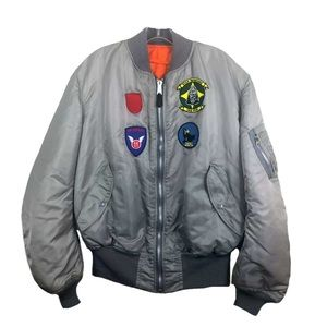 Alpha Industries Vintage MA-1 Bomber Flight Jacket w Patches USA Made 2XL
